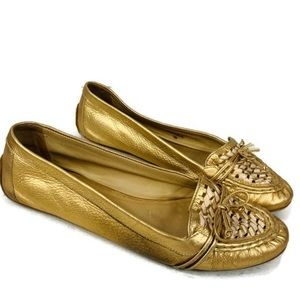 Kate Spade New York Gold Woven leather loafers